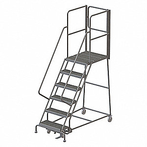 "6-Step Rolling Ladder, Serrated Step Tread, 102"" Overall Height, 450 lb. Load Capacity"