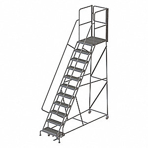"11-Step Rolling Ladder, Serrated Step Tread, 152"" Overall Height, 450 lb. Load Capacity"