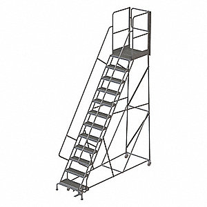 "12-Step Rolling Ladder, Serrated Step Tread, 162"" Overall Height, 450 lb. Load Capacity"