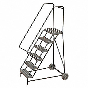 "6-Step Wheelbarrow Ladder, Ribbed Step Tread, 92"" Overall Height, 350 lb. Load Capacity"