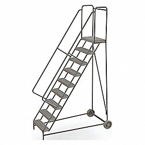 "9-Step Wheelbarrow Ladder, Serrated Step Tread, 122"" Overall Height, 350 lb. Load Capacity"