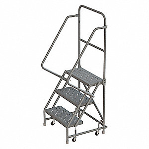 "3-Step Rolling Ladder, Perforated Step Tread, 66"" Overall Height, 450 lb. Load Capacity"