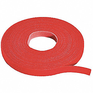 Hook and Loop Cable,75 ft.x0.75in.,Red