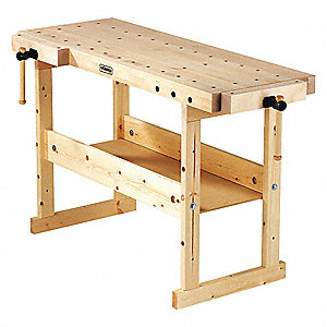 "Workbench, Birch, 24"" Depth, 33"" Height, 57"" Width, 200 lb. Load Capacity"