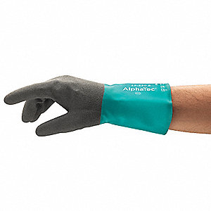 Chemical Resistant Gloves, Acrylic/Knit Lining, Black/Green, PR 1
