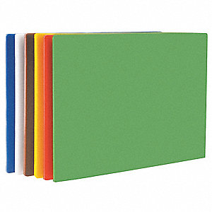 "Blue, Brown, Green, Red, White, Yellow Polyethylene Cutting Board Set, 20"" x 15"" x 1/2"""