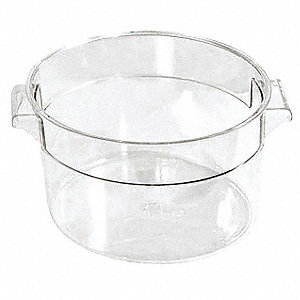 "6-1/4"" x 5-1/4"" x 5"" Plastic Round Storage Container, Clear"