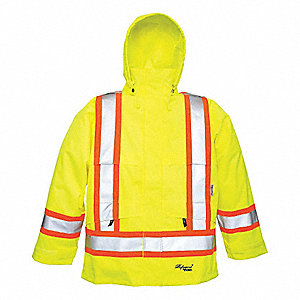 Rain Jacket,Men's,Hi-Visibility Lime,2XL