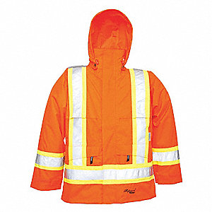 Rain Jacket,Men's,Hi-Visibility Orange,L