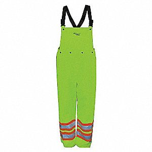 Rain Bib Overall, High Visibility: No, ANSI Class: Class E, Polyester, M, Yellow/Green
