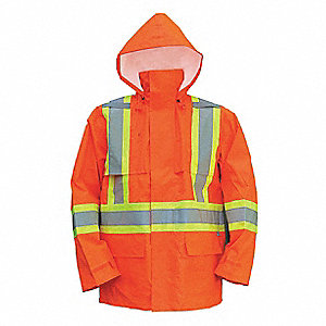 Rain Coat, High Visibility: Yes, ANSI Class: Class 3, Type R, Polyester, Polyurethane, 3XL, Orange