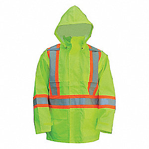 Rain Coat, High Visibility: Yes, ANSI Class: Class 3, Type R, Polyester, Polyurethane, 3XL, Yellow/G