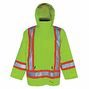 Rain Jacket,Men's,Hi-Visibility Lime,M