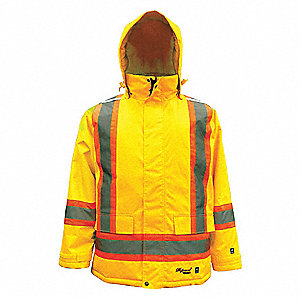 Rain Coat, High Visibility: Yes, ANSI Class: Class 3, Type R, Polyester, Polyurethane, 4XL, Yellow\G