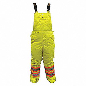 Rain Bib Overall, High Visibility: No, ANSI Class: Class E, Polyester, L, Yellow/Green