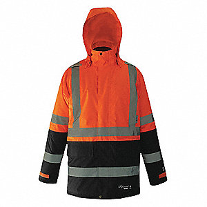 Rain Coat, High Visibility: Yes, ANSI Class: Class 3, Type R, Polyester, Polyurethane, 2XL, Black/Or