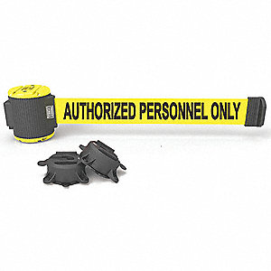 Magnetic Retractable Belt Barrier, Yellow, Authorized Personnel Only