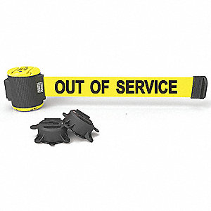 Magnetic Retractable Belt Barrier, Yellow, Out of Service