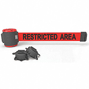 Magnetic Retractable Belt Barrier, Red, Restricted Area