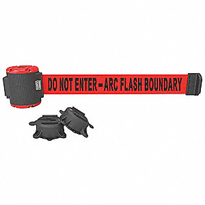 Magnetic Retractable Belt Barrier, Red, Do Not Enter - Arc Flash Boundary