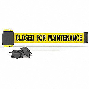 Magnetic Retractable Belt Barrier, Yellow, Closed for Maintenance