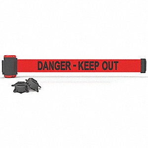 Magnetic Retractable Belt Barrier, Red, Danger - Keep Out