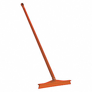 "24""W Straight Rubber Floor Squeegee With Handle, Orange"