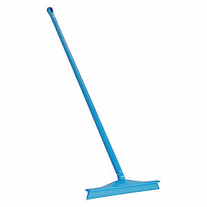 "20""W Straight Rubber Floor Squeegee With Handle, Blue"