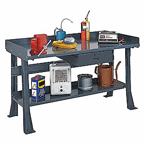 "Workbench, Steel, 36"" Depth, 33-3/4"" Height, 72"" Width, 6000 lb. Load Capacity"