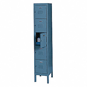 Box Locker,Louvered,1 Wide, 5 Tier,Blue