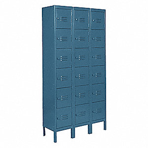 Box Locker,Louvered,3 Wide, 6 Tier,Blue