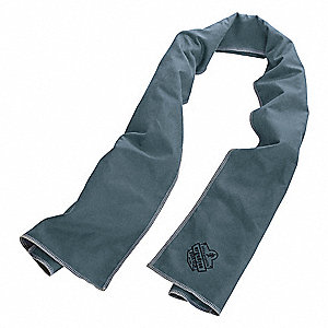 "Evaporative Cooling Towel, Nylon/Polyester, Gray, 40-7/8""L x 9-3/4""W,1 EA"