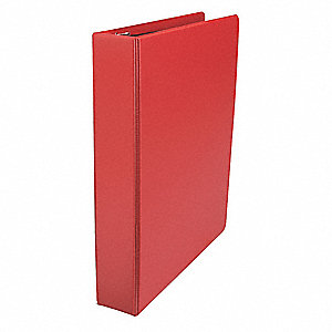 "Red 1-1/2"" 3-Ring Binder, 8-1/2"" x 11"" Sheet Size, Suede Finish Vinyl, 375 Sheet Capacity - Binders"