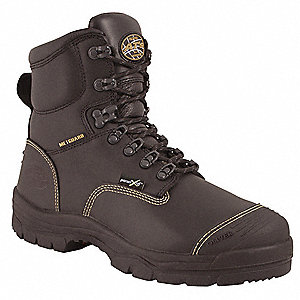 "6""H Men's Work Boots, Steel Toe Type, Leather Upper Material, Black, Size 14E"