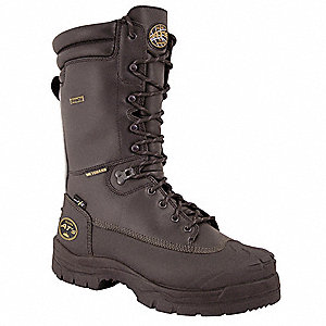 "10""H Men's Work Boots, Steel Toe Type, Leather Upper Material, Black, Size 9-1/2E"