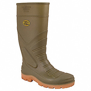 "16""H Men's Knee Boots, Steel Toe Type, PVC Upper Material, Green, Size 11"