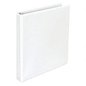 "White 1"" 3-Ring Binder, 8-1/2"" x 11"" Sheet Size, Paperboard, Suede Grain Vinyl, 175 Sheet Capacity -"