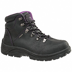 "5""H Women's Work Boots, Steel Toe Type, Black, Size 9W"