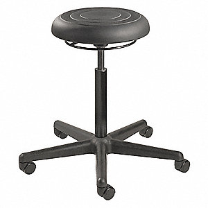 "Round Pneumatic Stool with 20"" to 27-1/2"" Seat Height Range and 300 lb. Weight Capacity, Black"