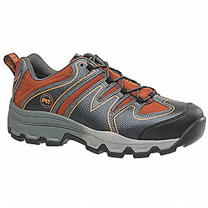 "3""H Men's Hiking Shoes, Steel Toe Type, Gray/Orange, Size 8M"