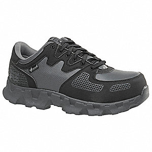 "3""H Women's Athletic Style Work Shoes, Alloy Toe Type, Black, Size 9W"