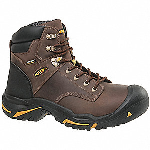 "6""H Men's Work Boots, Steel Toe Type, Brown, Size 8D"
