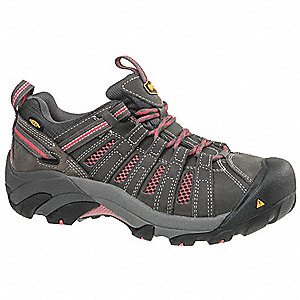 OxfordH Women's Work Boots, Steel Toe Type, Gray/Pink, Size 11W