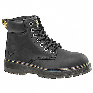 "6""H Men's Work Boots, Steel Toe Type, Black, Size 10M"