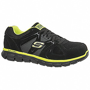 "3""H Men's Athletic Style Work Shoes, Alloy Toe Type, Black/Lime, Size 10-1/2D"