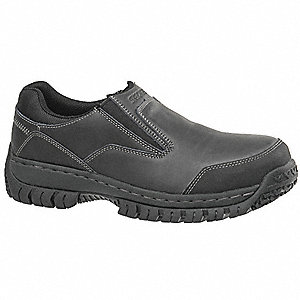 "3-1/4""H Men's Slip-On Shoes, Steel Toe Type, Black, Size 9D"