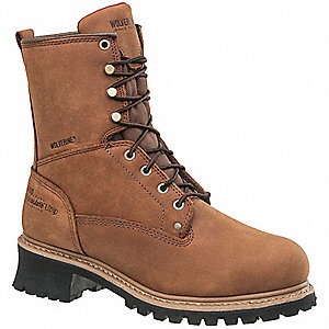 "8""H Men's Work Boots, Steel Toe Type, Brown, Size 8-1/2M"