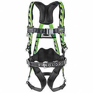 S/M Full Body Harness, 5000 lb. Tensile Strength, Black/Green