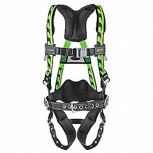 Universal Full Body Harness, 5000 lb. Tensile Strength, 400 lb. Weight Capacity, Black/Green