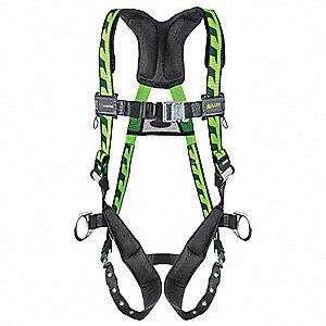 S/M Full Body Harness, 5000 lb. Tensile Strength, 400 lb. Weight Capacity, Black/Green